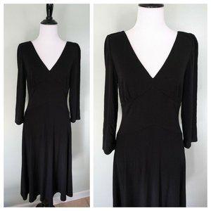 RALPH LAUREN Black V-Neck Fit Flare Stretch Dress